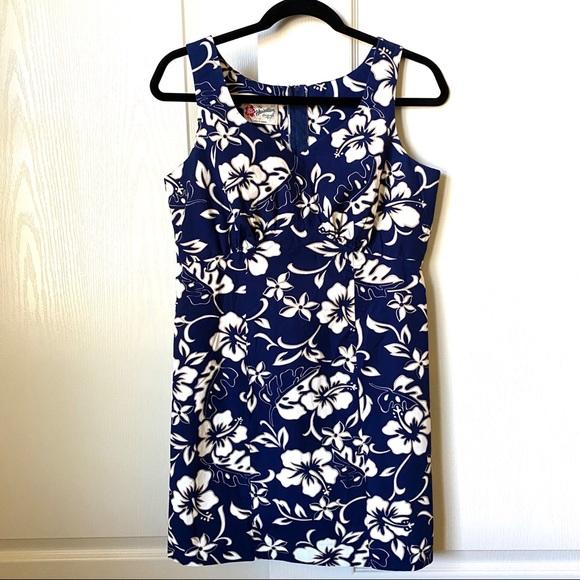Vintage 80s Hilo Hattie Dress 80s Floral Hawaiian Dress Drop waist vintage Hawaiian Dress